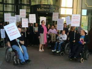 Lobby 2 Sep 14 local disabled people with Councillor Saunders, who led the call-in