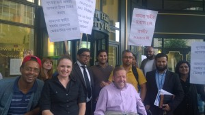 Lobby 2 Sep 14 local disabled people with Tower Hamlets First councillors Ohid Ahmed, Abjol Miah and Mahbub Alam