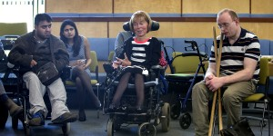 Baroness Jane Campbell of Surbiton DBE, well-known disability rights activist, with some of Real's members and staff